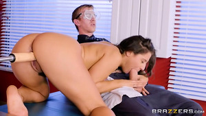 Vaginal mashine stimulation for young Abella Danger and a real cock in her  mouth!