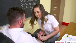 Naughty bookworm Lexi Lovell shows her tiny pussy to professor and sucks his cock!