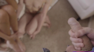 Step brother caught young sisters Alana Summers and Elsa Jean in fuck with dildo!