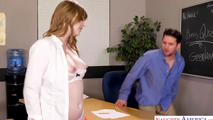 Teen bookworm Dolly Leigh shows her pussy to professor!