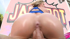 Busty young cutie Jessa Rhodes rides fat cock and sucks it.