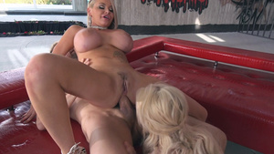 Busty Milf and a young slim nymphomaniac anal-vaginal fuck!