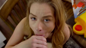 Teen slut Lilly Ford sucking her stepbrother cock while Lilly's mom sitting nearly!