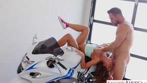 Young slut Adriana Chechik cheats her boyfriend with muscular motorcycle-riding Johnny