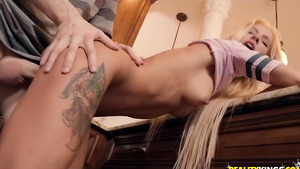 College porn videos with cheating petite girl Kenzie Reeves fucked in the kitchen!