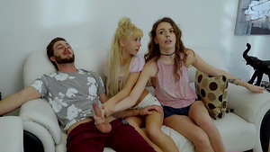 Stepbrother gets blowjob from his stepsisters Alex Blake and Kenzie Reeves in stepsister porn!