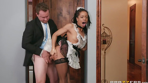 Young Kira Noir dressing up as a French Maid cheating her husband in tight pussy porn