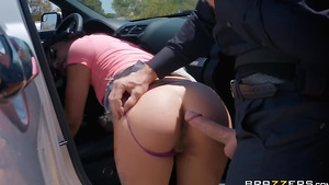 Young Latina Gina Valentina fucked by cop on the road!