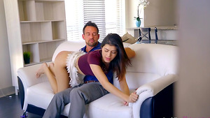 Daddy spanking stepdaughter Audrey Royal and fuck her!