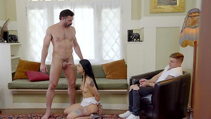 Step dad makes his stepdaughter cum and gives her a facial of hot jizz, while her boyfriend watches.