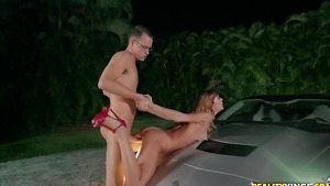 Young pornstar Ana Rose getting horny on car!