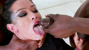 Naked beauty Katrina Jade's interracial anal threesome with cum on face from big black cock dudes!