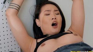 Asian girl Kaya Lin fucked in the garage!
