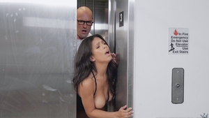 Autumn Falls gets stuck in the elevator doors and have been fucked!
