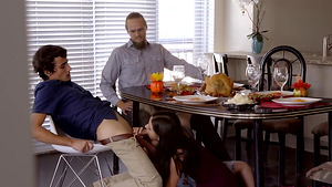 Stepsister sucking step-brother's cock under the table - Violet Rain makes boy cum!