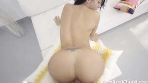 Tattooed young brunette Canela Skin assfucked porno free xxx!