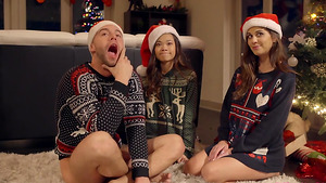 The fuck before Xxxmas with slutty stepsisters Kacie Castle and Vina Sky in free girl porn!
