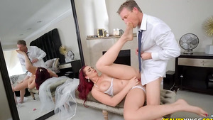 Father-in-law-to-be fucks in ass young redhead bride Skyla Novea in sexy porn videos!