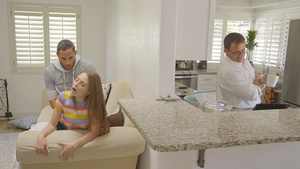 Brother fucks stepsister Kyler Quinn when dad in the kithen!