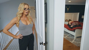 Hot stepmom Briana Banks found her stepdaughter Danni Rivers making blowjob to her BF.