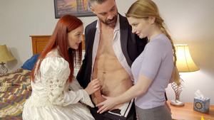 A new sister wife Danni Rivers needs sex teaching from first wife Bunny Colby!