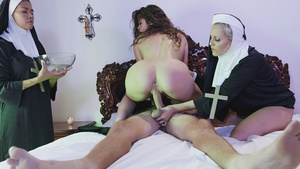 Nasty Victoria Voxxx fucks father Steve wit hhelping nun Sister Julia Ann!