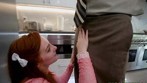 PPretty red-haired Amber Addis swallows cock to get a job!