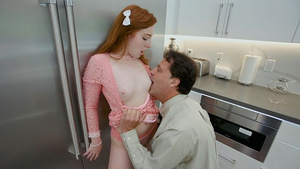 Redhead girl Amber Addis lets the guy rip off her clothes and fuck her twat!