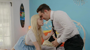 Tiny white girl Kenzie Reeves gives deepthroat blowjob to Mormon dude!