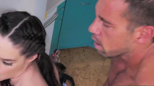 Tiny pigtailed girl Jenna Ross fucked from behind!