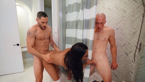 Ebony schoogirl Lala Ivey threesome cheating fuck with 2 cumshots!
