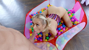 Tiny blonde Sky Pierce sucking big cock!