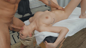 Oiled blonde pornstar Skye Blue deepthroat blowjob!
