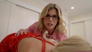 Stepsister Tallie Lorain and stepmom Cory Chase sucking my cock!