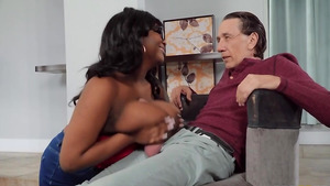 Big titty tutor Barbie Crystal sucking older man's cock free porn tube.