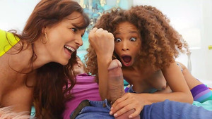 Stepfeather fucks young tiny Cecilia Lion and her stepmom Syren De Mer!