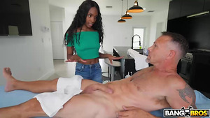 Step daughter Lacey London massage and blowjob stepfather